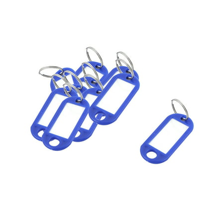 10Pcs Metal Ring Blue Plastic Oval Key Fobs ID Label Name Tag Keyring Keychain