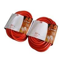2 Pack 50-Ft 10 Gauge Extension Cord Indoor/Outdoor Lit Ends UL Orange