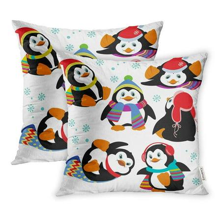 BSDHOME Little Cartoon Penguins White Winter Animal Character Adorable Aqua Arctic Pillow Case Pillow Cover 20x20 inch Set of 2 - image 1 de 1