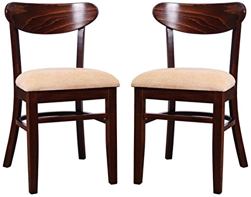 Beechwood Mountain Bsd-7S-W Solid Beech Wood Side Chairs in Walnut for Kitchen & Dining, Set of 2, NA by Overstock