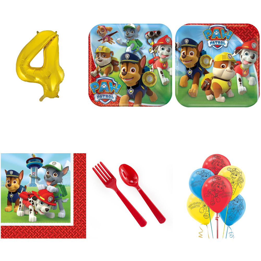 PAW PATROL PARTY SUPPLIES PARTY PACK FOR 16 WITH GOLD #4 BALLOON