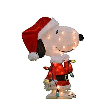 Product Works 24-Inch Pre-Lit Peanuts Snoopy with Strand of Lights Christmas Yard Decoration, 35 Lights ()