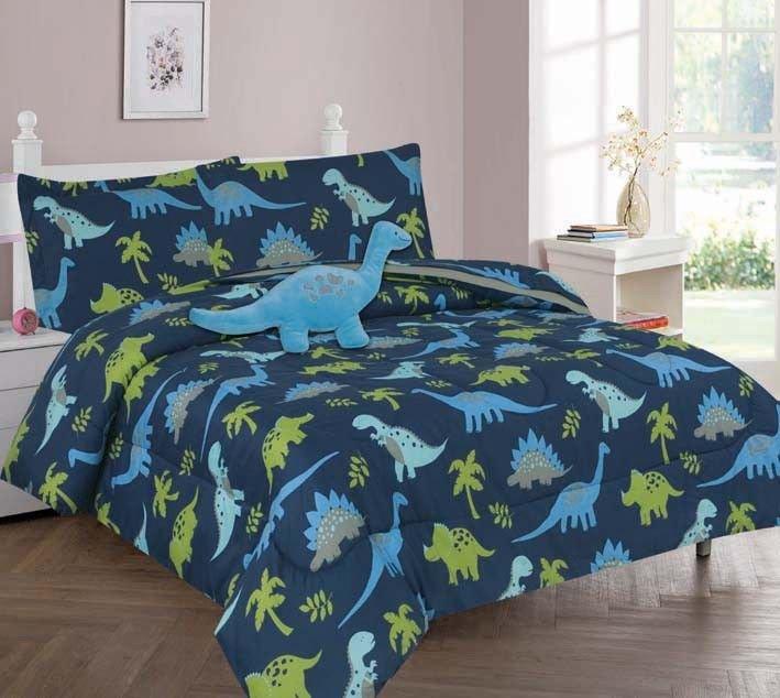Great TWIN DINOSAUR BLUE BOYS BEDDING SET, Beautiful Microfiber Comforter With  Furry Friend And Sheet Set (6 Piece Kids Bed In A Bag)   Walmart.com