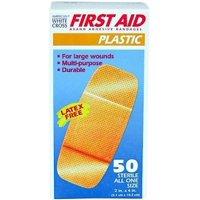 """American White Cross Plastic Adhesive Bandage 2"""" X 4"""" Bandaid 50 Bandages"""