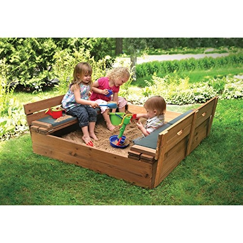 Badger Basket Covered Convertible Cedar Sandbox with Two Bench Seats and Seat Pads