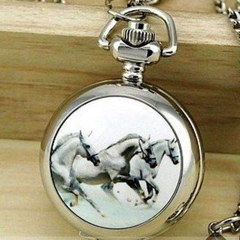 Horse Mini Pocket Watch Long Necklace Silver