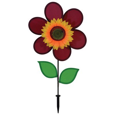 In the Breeze 12 Inch Burgundy Sunflower Wind Spinner with Leaves - Colorful Flower for your Yard and Garden ()