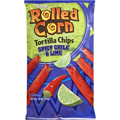 Great Value Rolled Corn Spicy Chile & Lime Tortilla Chips, 10 oz