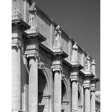 Union Station facade and sentinels Washington DC - Black and White Variant Poster Print by Carol Highsmith Unions Station Washington Dc