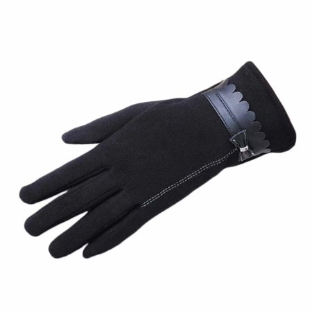 Warm Lady's Autumn Winter Touchscreen Gloves Micro Velboa -lined Thickened Leather Gloves with Bowknots Gloves for Cycling (Best Autumn Cycling Gloves)