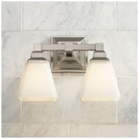 "Regency Hill Wall Light Satin Nickel Hardwired 12 3/4"" Wide 2-Light Fixture Etched Opal Glass for Bathroom Vanity"