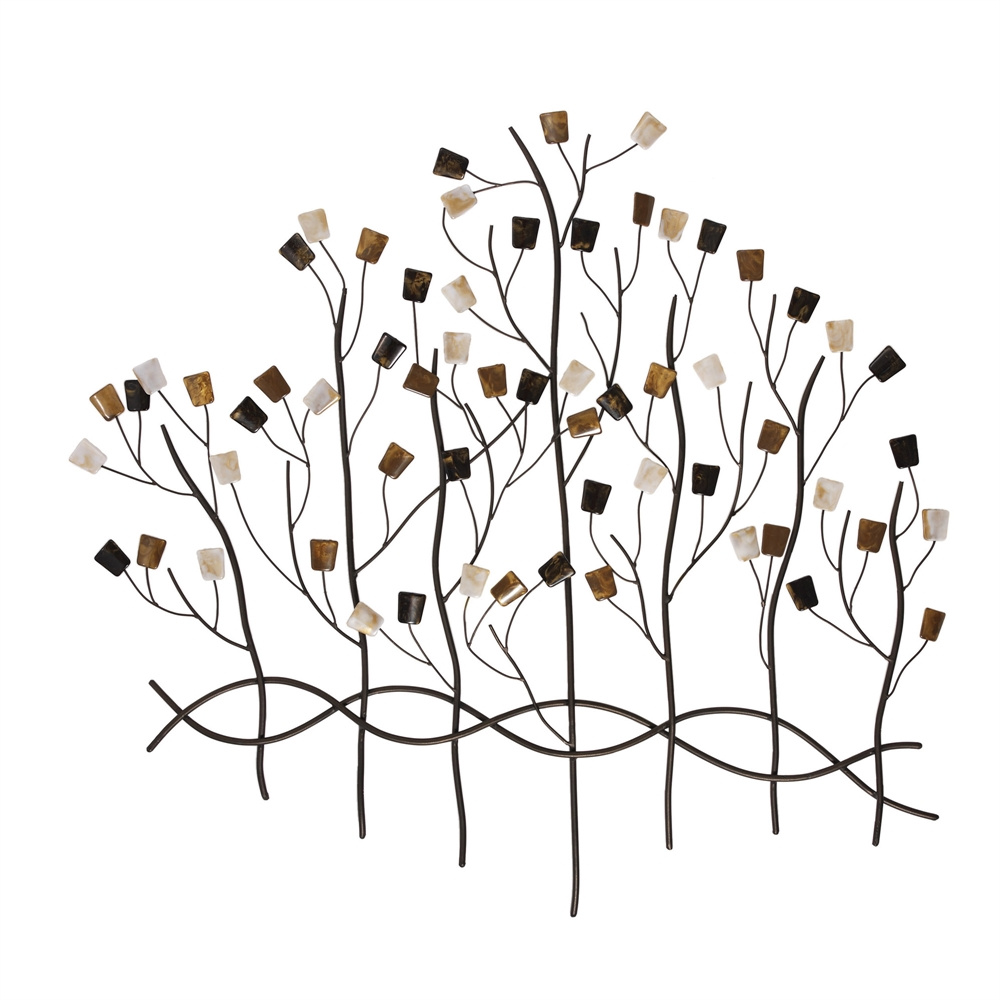 Jeweled Forest Metal Tree Wall Art Sculpture - 35W x 32H in.