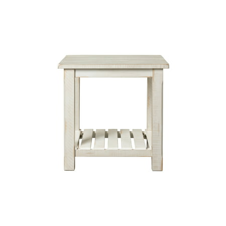 - Martin Svensson Home Barn Door Collection End Table, Antique White