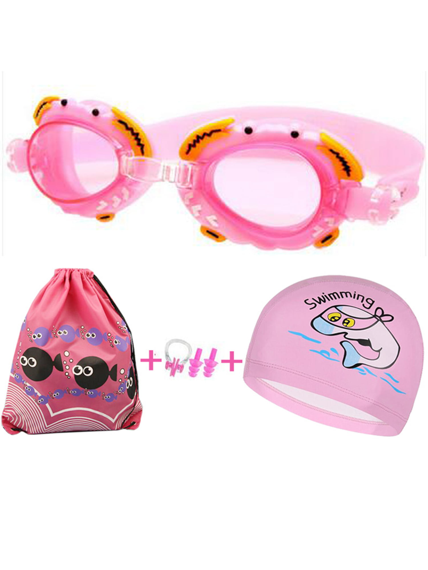 pink High-definition Waterproof Anti-fog and Anti-UV Swimming Glasses Silicone Swimming Cap Four-piece suit Protective Sleeve Earplugs Men Women,Adults Goggles +Double-Sided Swimming Cap