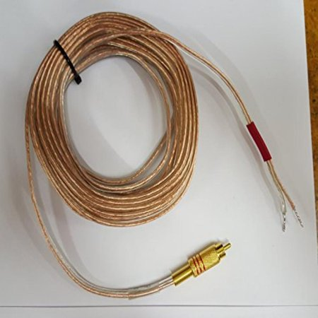 Rca Phono Lead - Gold Plated Metal RCA (PHONO) Red to Open 16 awg Speaker Wire Leads (Heavy Duty 16 Gauge) 35 Foot