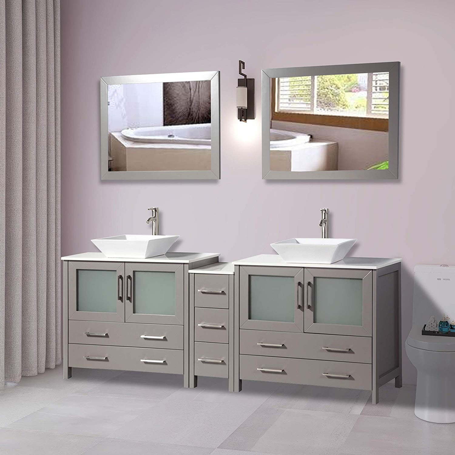 Vanity Art 84 Inches Double Sink Bathroom Vanity Compact Set 3 Cabinets 2 Shelves 7 Drawers Quartz Top And Ceramic Vessel Sink Bathroom Cabinet With Free Mirror Va3136 84g Walmart Com Walmart Com