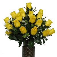 Yellow Roses Artificial Bouquet, featuring the Stay-In-The-Vase Design(c) Flower Holder (SM1591)