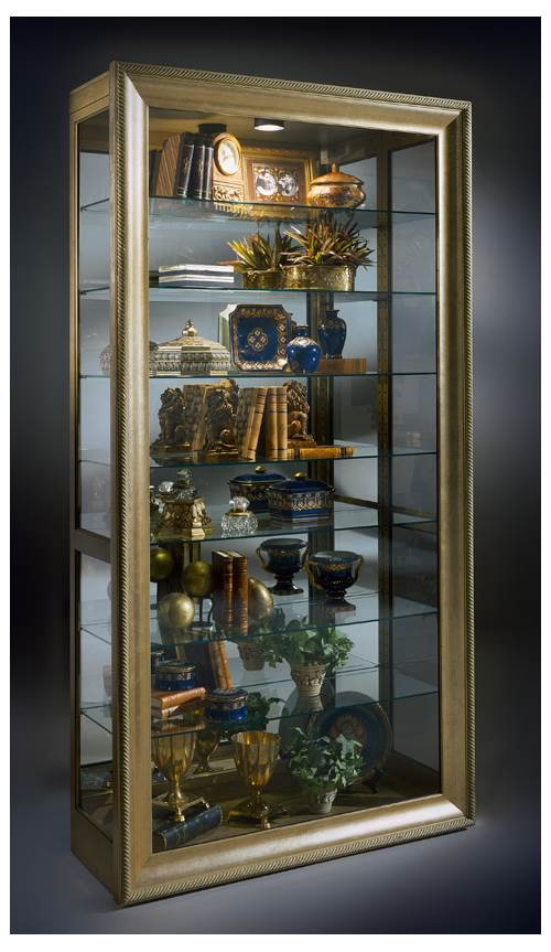 Philip Reinisch Museum Vermeer   Adjustable Shelf Wood Curio Cabinet W Gold  Tone Finish