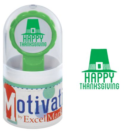 95608ed133a7a Motivations Pre-inked Teacher Stamp - Happy Thanksgiving (Pilgrim Hat) -  Green (