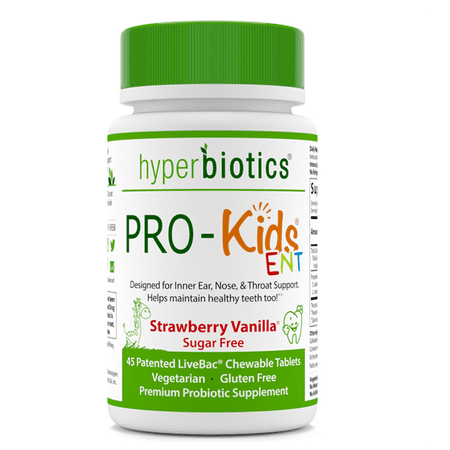 Pro Complex Strawberry - Hyperbiotics PRO-Kids ENT Natural Probiotic Chewable Tablets, Strawberry Vanilla, 45 Ct