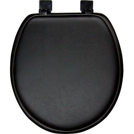 black soft padded cushion toilet seat round standard size. Black Bedroom Furniture Sets. Home Design Ideas