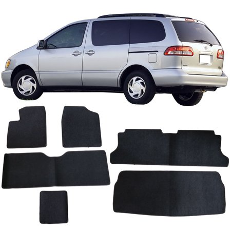 Fits 98-03 Toyota Sienna Black Nylon Front Rear Floor Mats Carpets 6PC