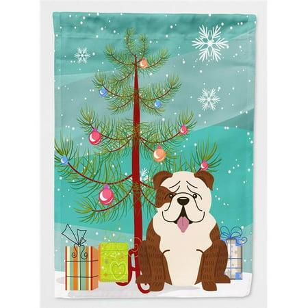 Carolines Treasures BB4246CHF Merry Christmas Tree English Bulldog Brindle White Flag Canvas House Size - image 1 of 1