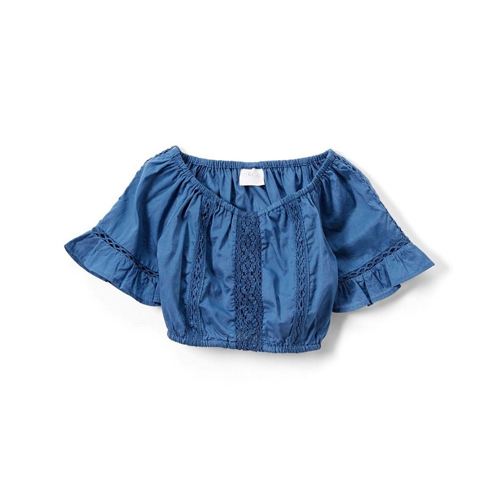 Azul Little Girls Blue Peasant Look Short Sleeve Lace Top