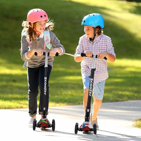 Scooter for Kids 3 Wheel T-bar Adjustable Height Handle Kick Scooters with Max Glider Deluxe PU Flashing Wheels Wide Deck for Children from 5 to 14