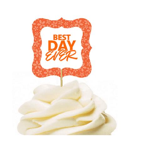 12pack Best Day Ever Orange Flower Cupcake Desert Appetizer Food Picks for Weddings, Birthdays, Baby Showers, Events &