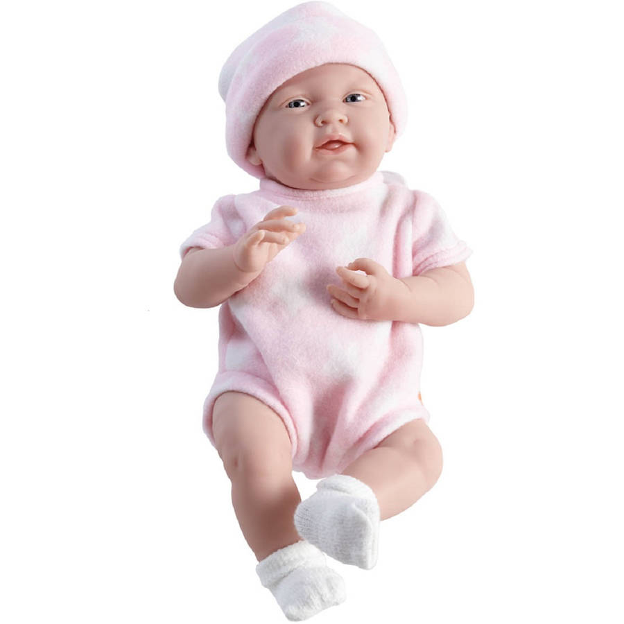 """JC Toys La Newborn 15"""" Real Girl Doll, Pink and White Star"""