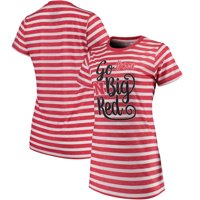 Nebraska Cornhuskers Pressbox Women's Crimean Team Striped T-Shirt - White/Scarlet