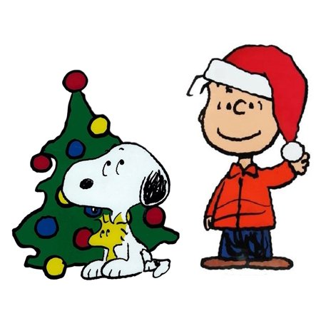 Snoopy And Woodstock Christmas Images.Window Cling Linus Santa Hat And Snoopy And Woodstock By The