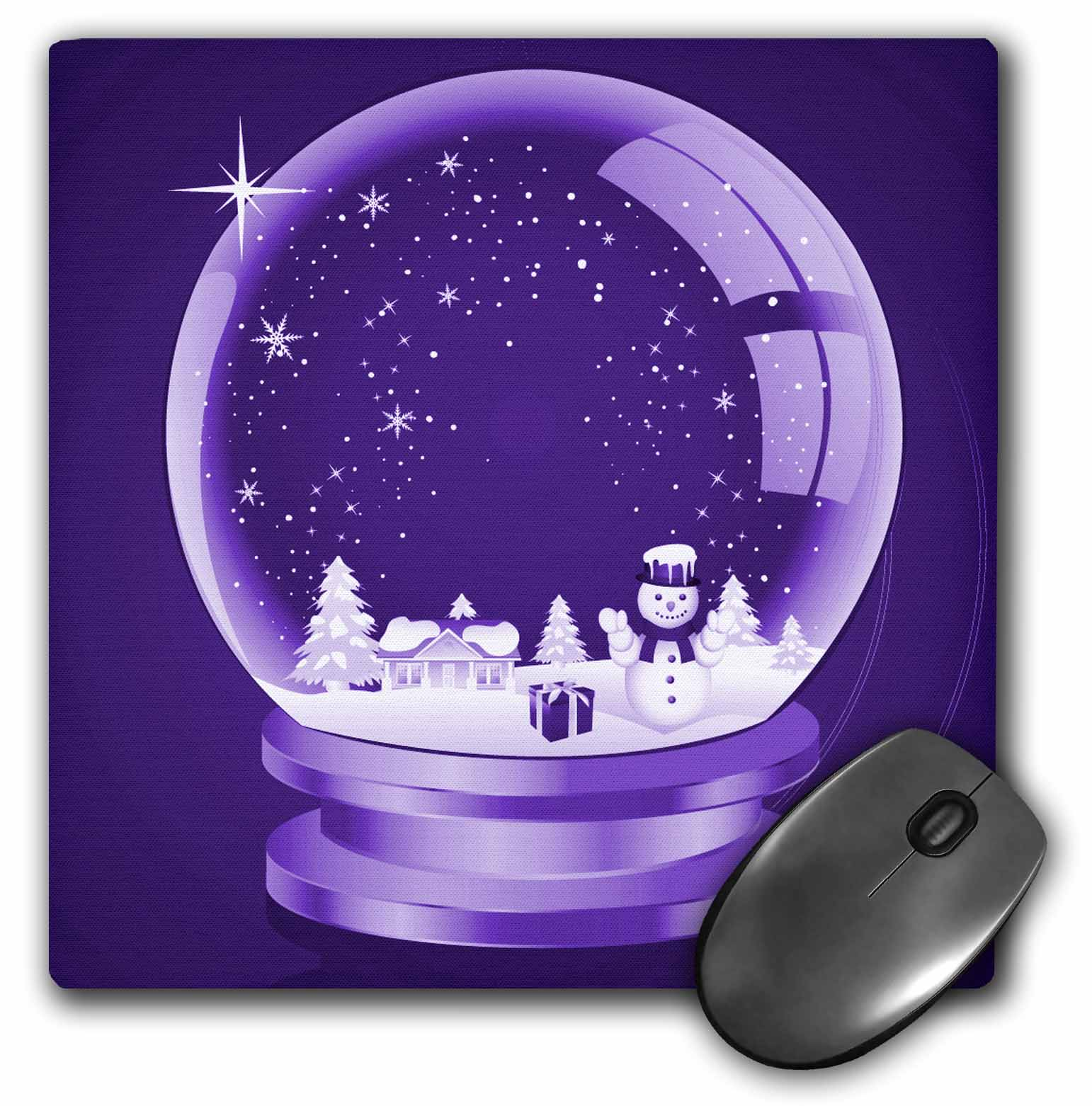 3dRose A Christmas Snow Globe Illustration On A Purple Background, Mouse Pad, 8 by 8 inches