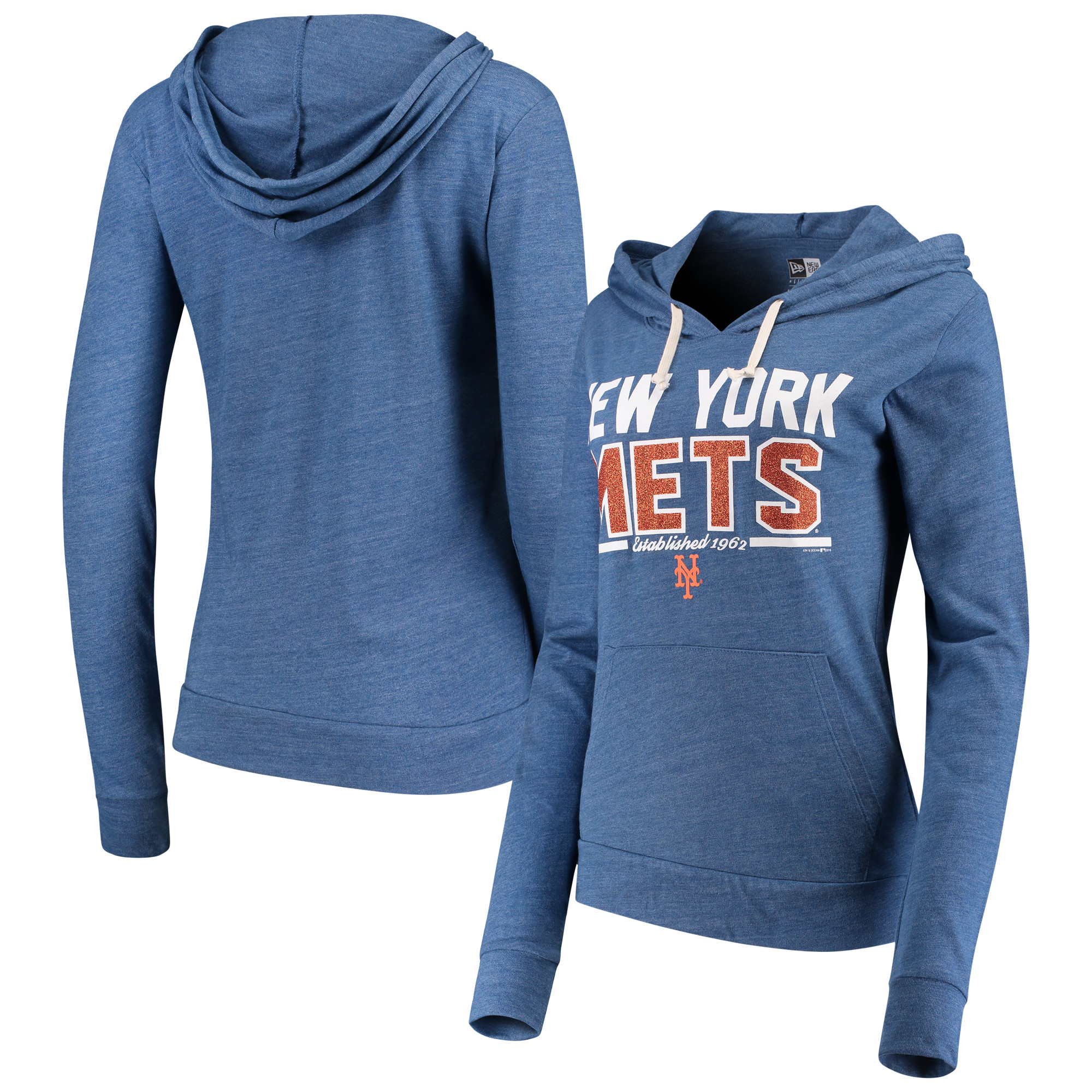 New York Mets 5th & Ocean by New Era Women's Jersey Established Tri-Blend Pullover Hoodie - Royal