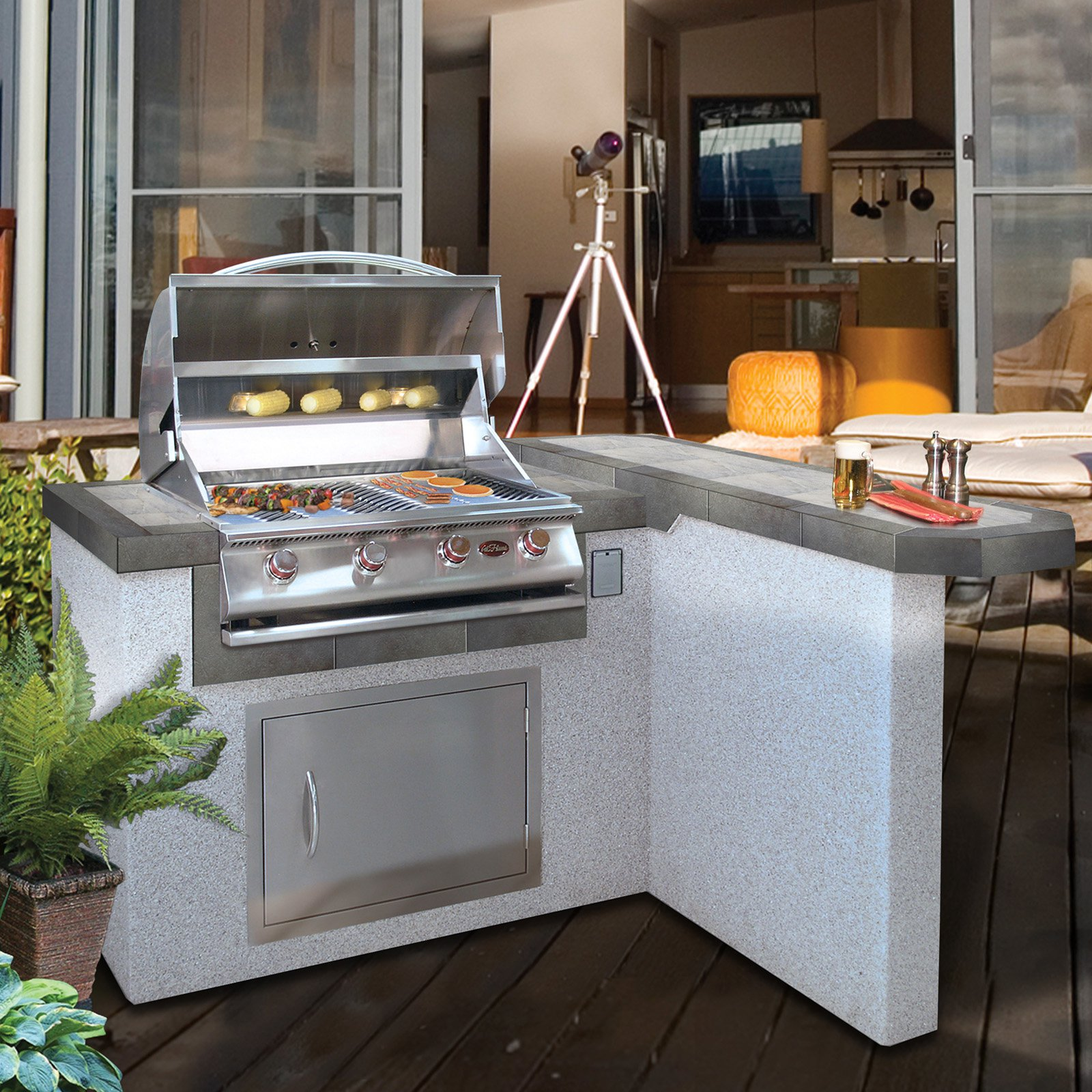 Cal Flame 4 ft. Stucco Grill Island with 4 Burner Gas Grill