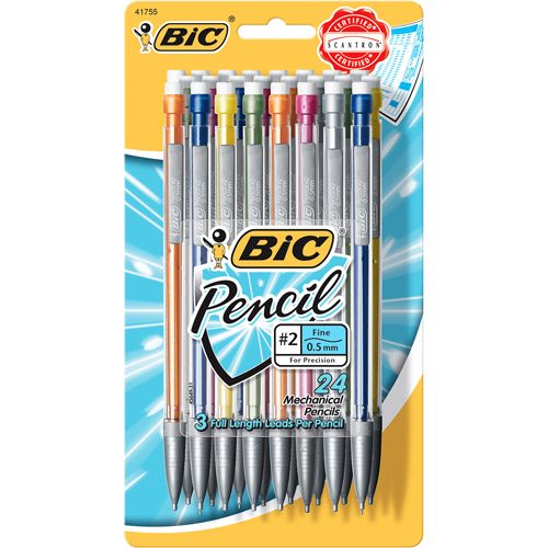 BIC Mechanical Pencil with Metallic Barrels, 0.5mm, Black, 24-Pack