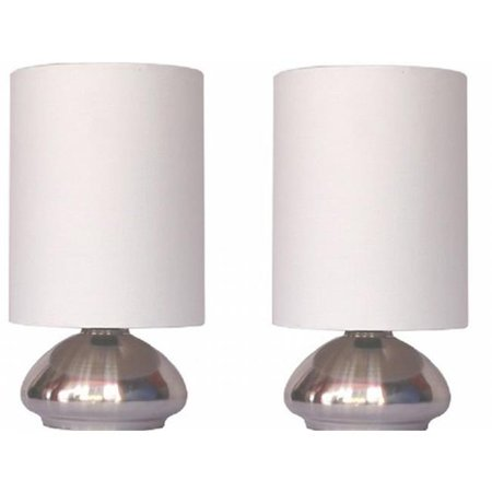 All the Rages Inc LT2016-IVY-2PK 2 Pack Mini Touch Lamp with Shiny Silver Metal base and Ivory Shade - image 2 of 2