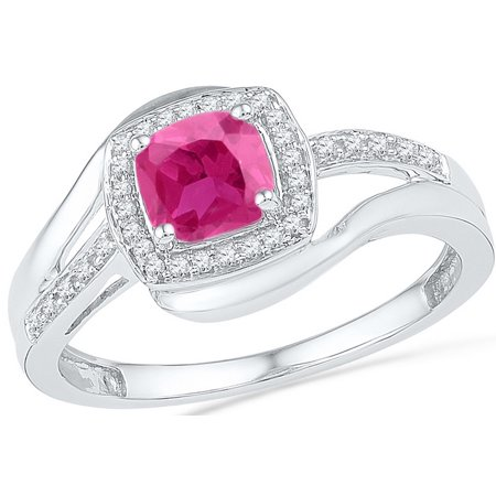 Size - 7 - Solid 10k White Gold Cushion Round Pink Simulated Sapphire And White Diamond Engagement Ring OR Fashion Band Prong Set Solitaire Shaped Halo Ring (1/10 cttw)