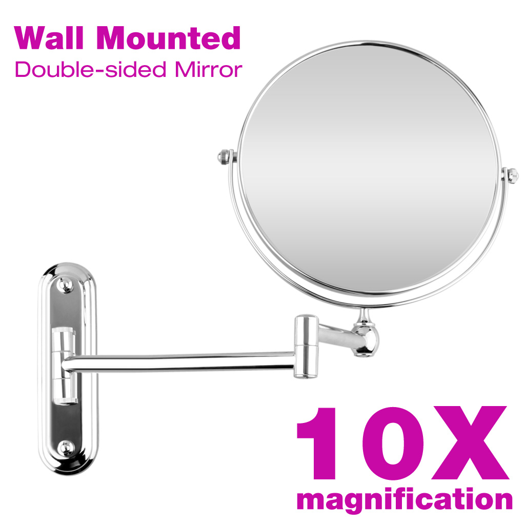 8 Inch Wall Mounted Extending Folding Mirror, 10X Magnification Double Side  Cosmetic Make Up Bathroom