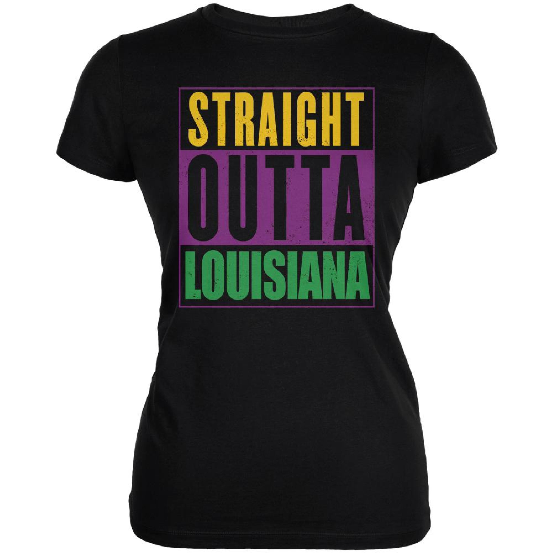 Mardi Gras Straight Outta Louisiana Black Juniors Soft T-Shirt