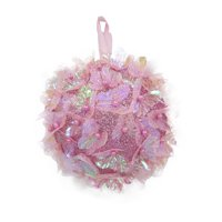 Holiday Time Ornament, Pink with Butterflies