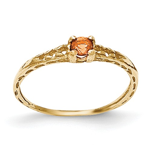 14k Yellow Gold 3mm Citrine Birthstone Baby Ring.