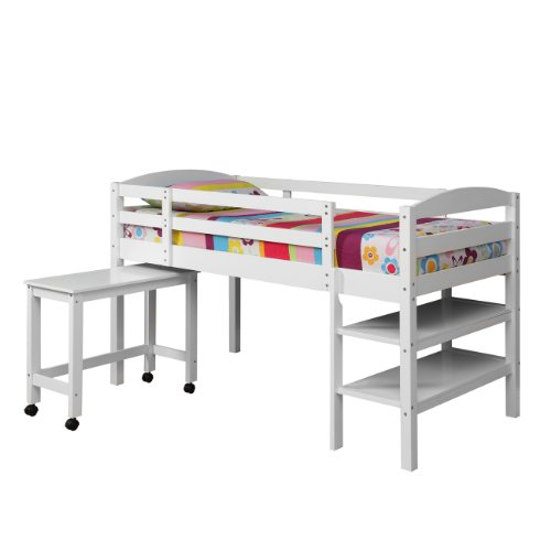 Twin Wood Loft Bed with Desk - White