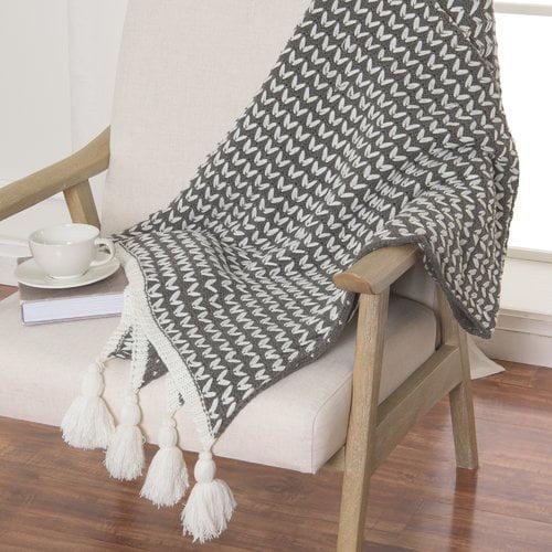 Gracie Oaks Theodora Knit Tassel Throw