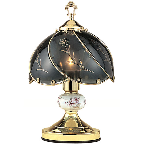 "OK Lighting 14.25"" GoldTouch Lamp With Dark Glass Floral Theme"