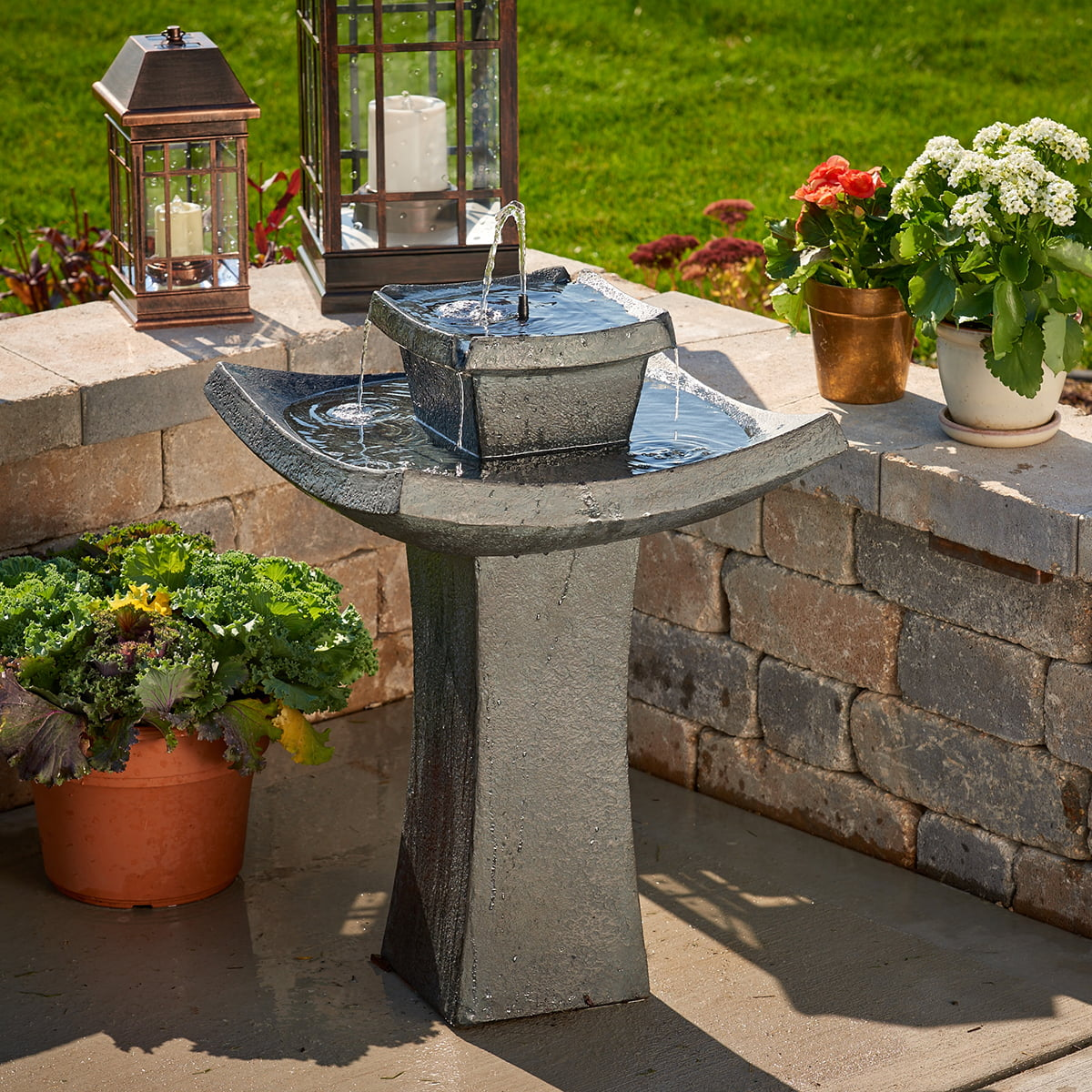 Smart Solar Modern Zen Solar-on-Demand Fountain by Smart Living Home & Garden