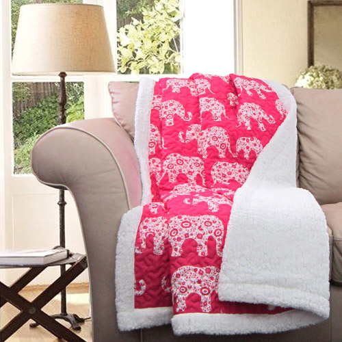 Elephant Parade Throw, Pink, Sherpa