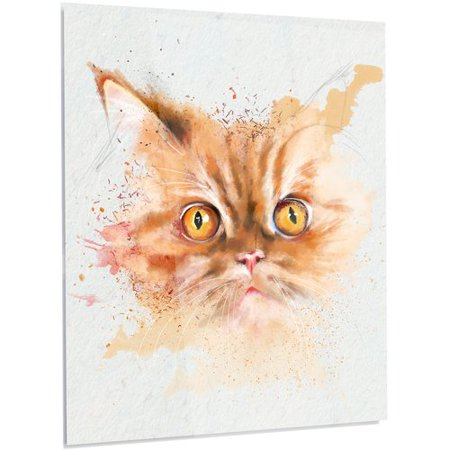 Design Art 'Serious Cat Face Watercolor' Painting Print on - Cat Face Painting