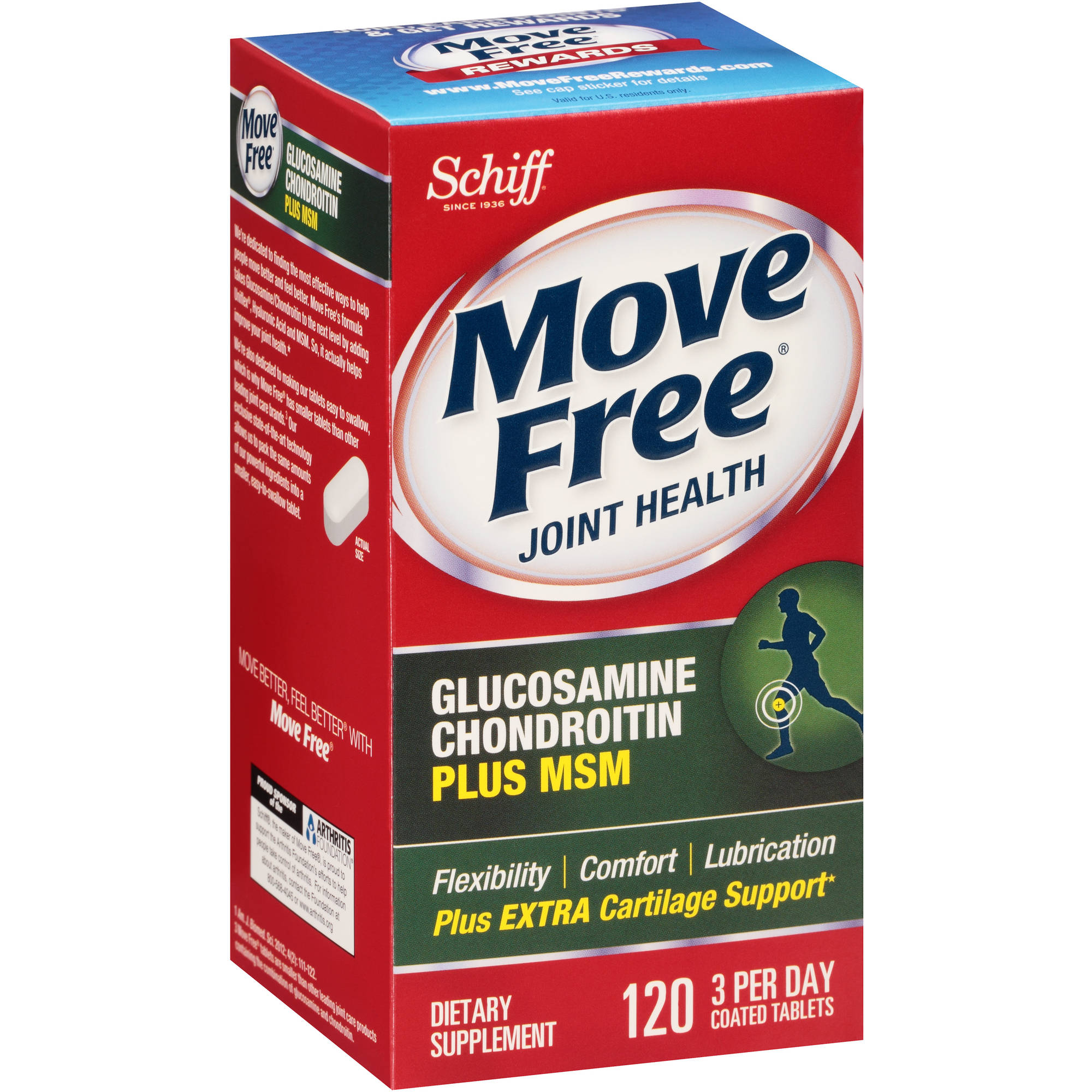 Schiff Move Free Glucosamine Chondroitin Plus MSM Joint Health Dietary Supplement Coated Tablets, 120 count